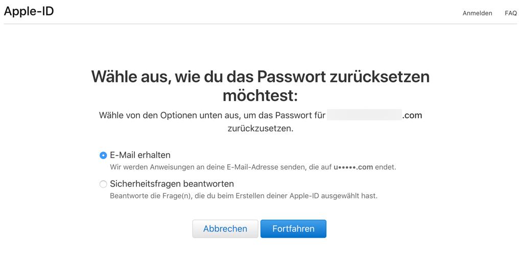 Apple ID zurücksetzen über Email oder Sicherheitsfragen