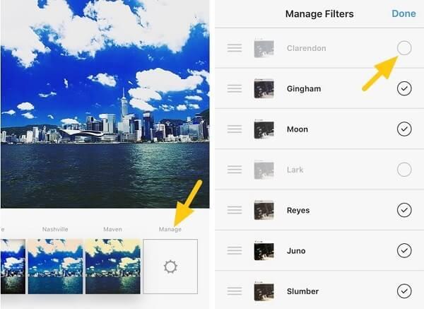 Instagram-Filter verwalten