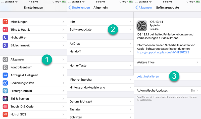 iOS-Softwareupdate installieren