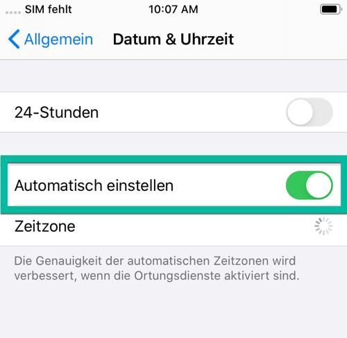 Apple Datum automatisch einstellen
