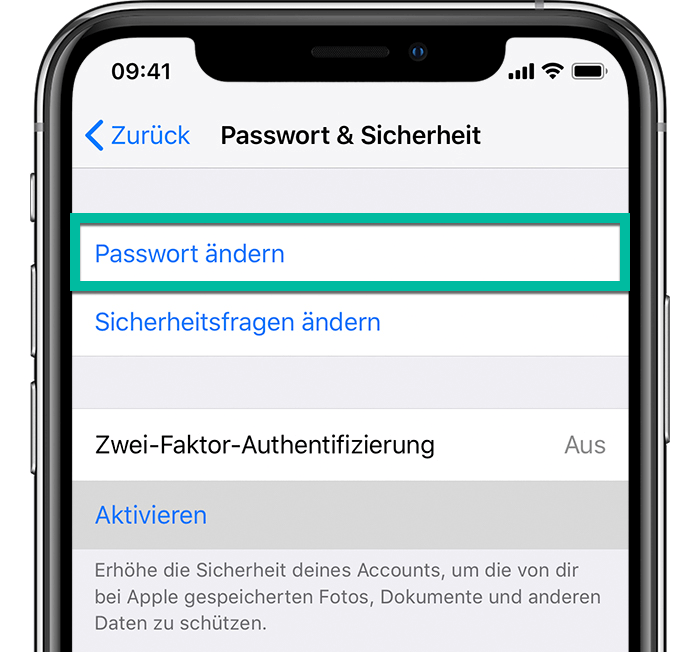 Apple ID Passwort ändern auf iPhone