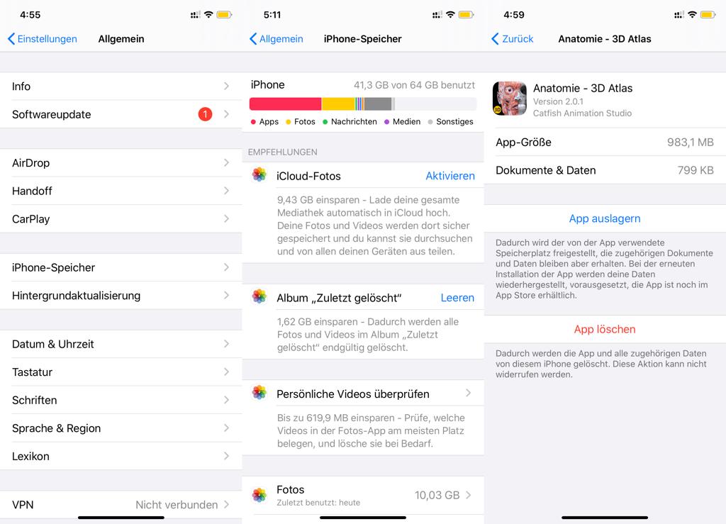iPhone-Speicher optimieren unter iOS 11 und höher