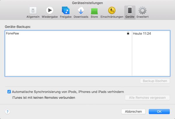 iTunes Backup überprüfen