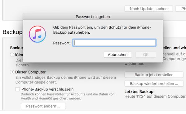 iTunes Backup Verschlüsselung deaktivieren