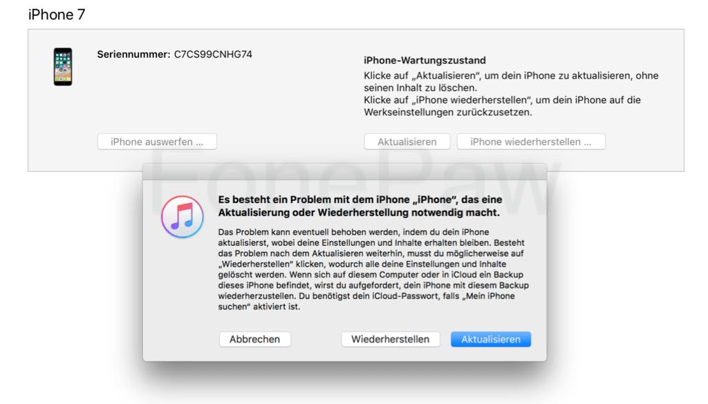 iTunes erkennt iPhone in Wiederherstellungsmodus