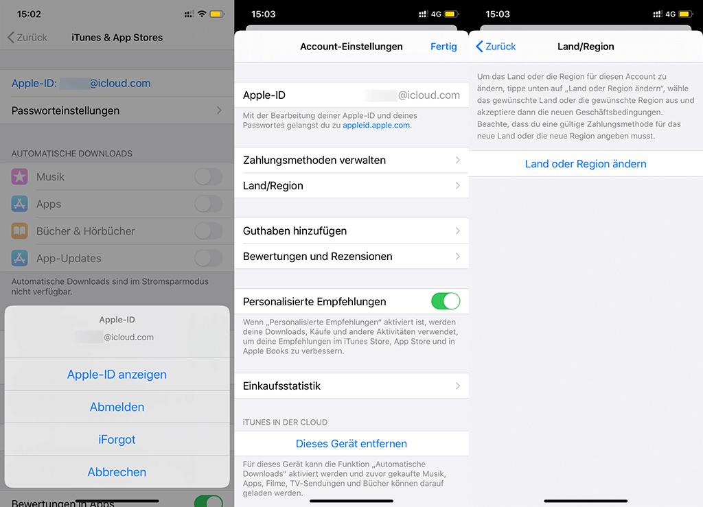Land/Region ändern Apple ID