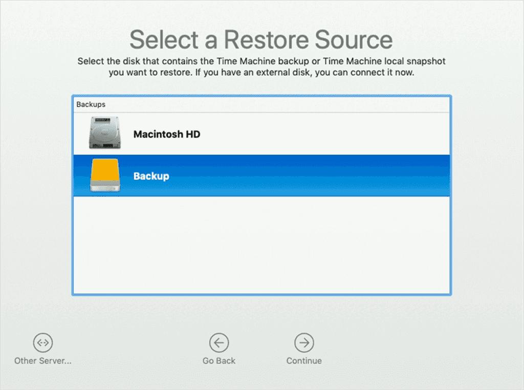 Mac Backup-Quelle auswählen