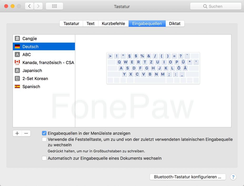 Mac Eingabequellen überprüfen