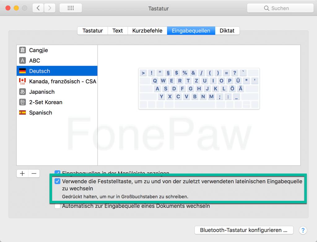 Mac-Feststelltaste nicht funktioniert