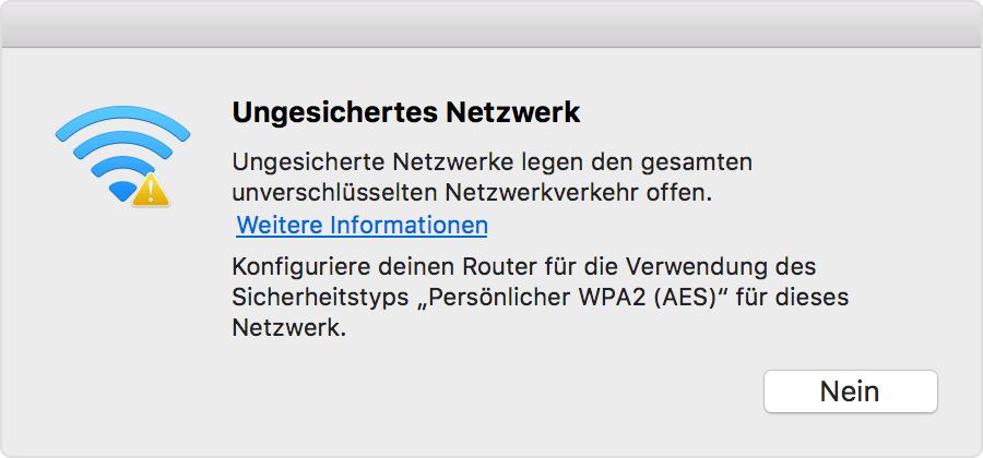 Apples WLAN-Empfehlungen überprüfen