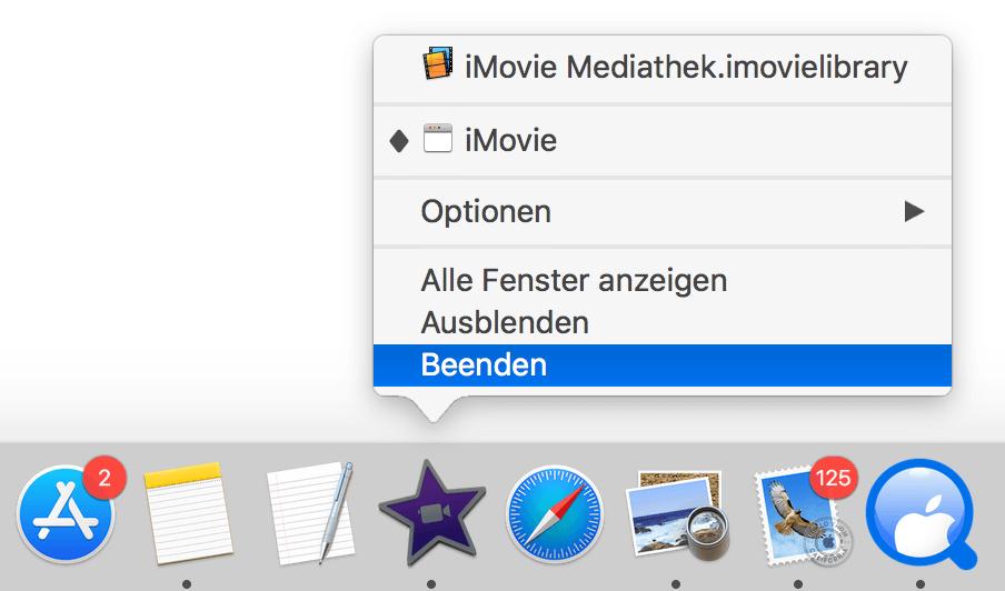 Mac Programm beenden im Dock