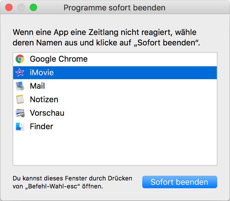 Mac Programm sofort beenden Apple Menü