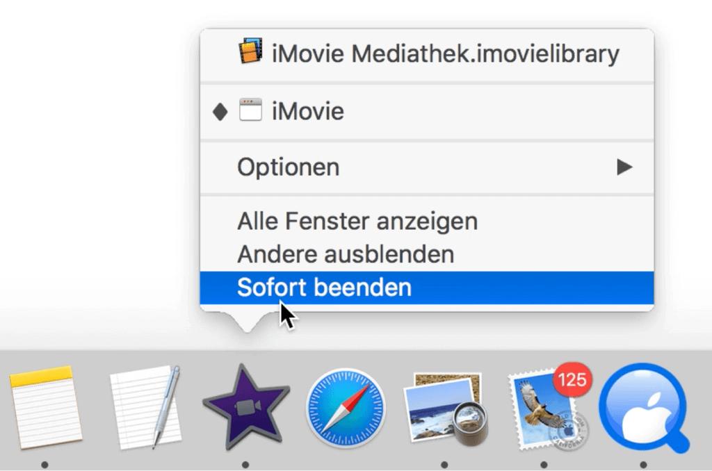 Mac Programm sofort beenden im Dock