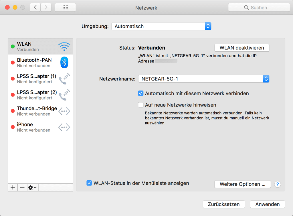 Mac Systemeinstellungen Netzwerk