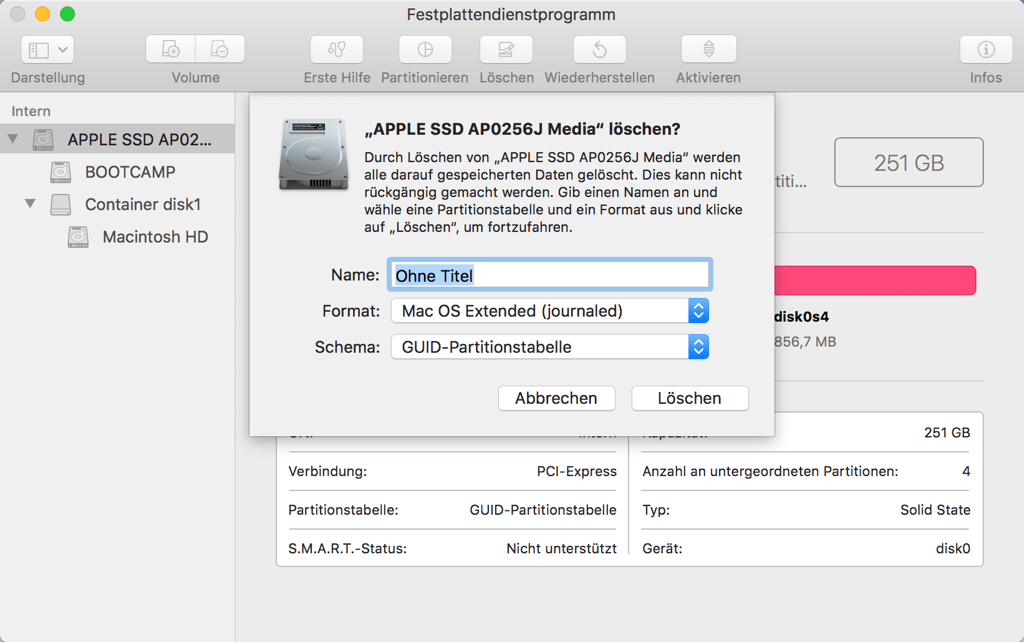 Mac Volume löschen