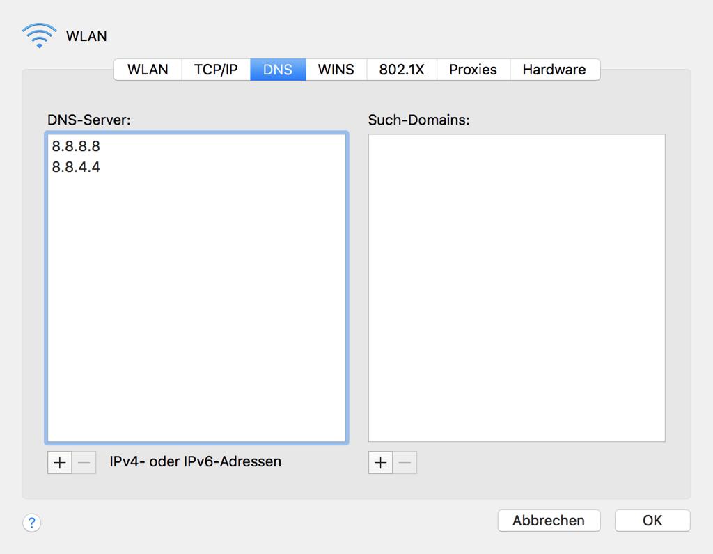 Mac WLAN DNS-Server hinzufügen