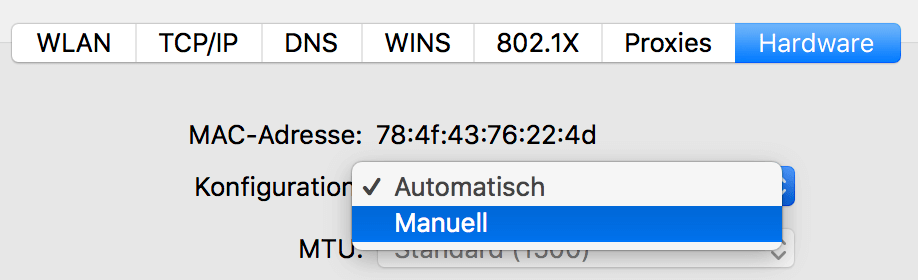 Mac WLAN Hardware Konfigurieren manuell