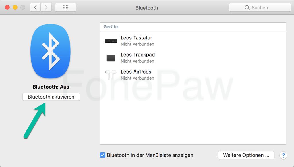 MacBook Bluetooth einschalten
