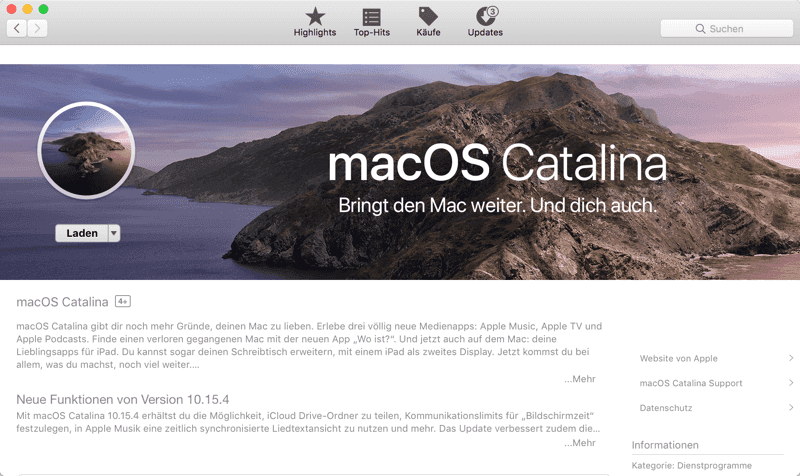macOS Catalina Beta herunterladen vom App Store