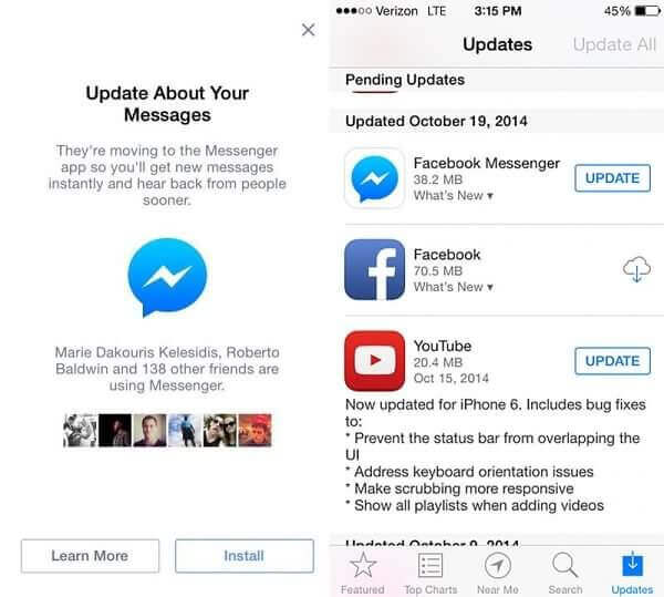 Messenger auf iPhone aktualisieren