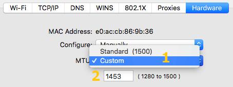 MTU Benutzerdefiniert und auf 1453 setzen