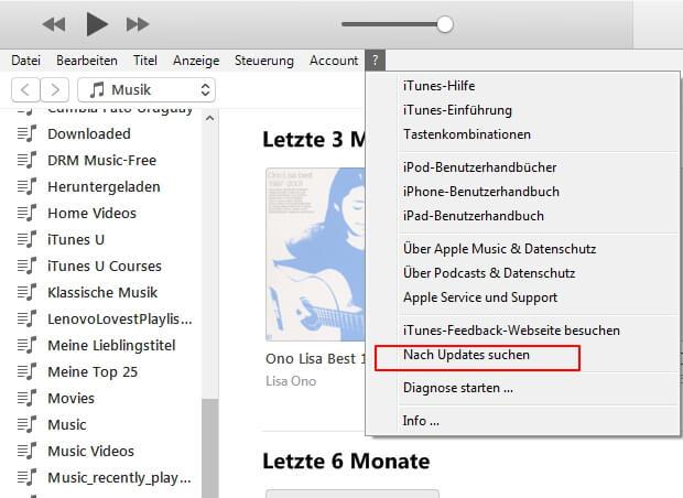 Nach Update suchen iTunes