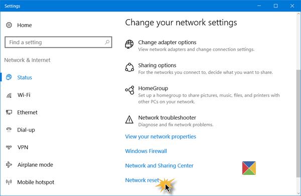 Netzwerkeinstellungen auf Windows 10