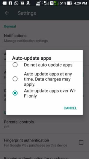 Unter Wifi Apps aktualisieren