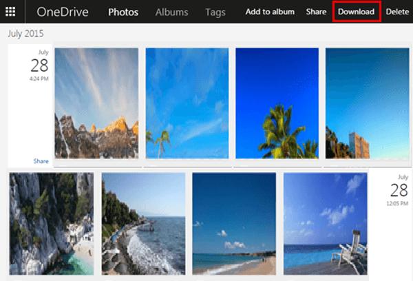 Mit OneDrive Fotos downloaden