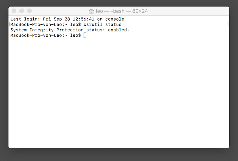 SIP auf Mac ansehen durch Befehlszeile