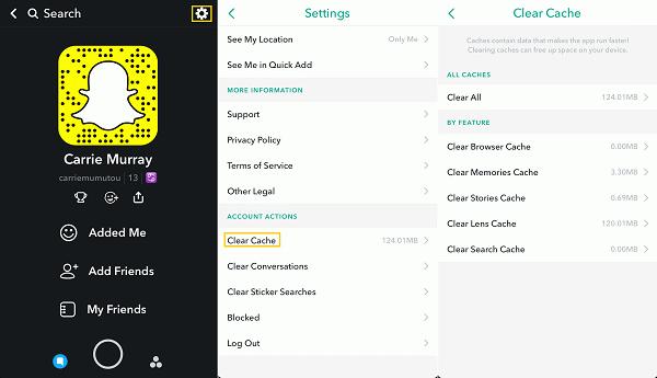 Snapchat-Cache löschen
