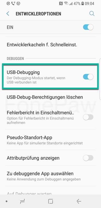USB-Debugging aktivieren