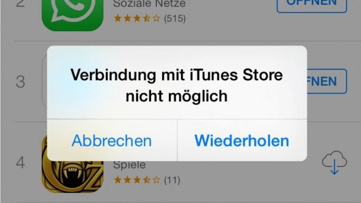 Verbindung mit iTunes Store nicht möglich