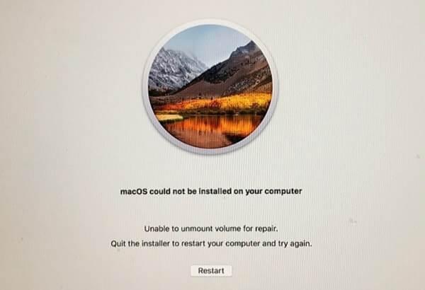 Volume nicht für die Reparatur von macOS deaktiviert werden