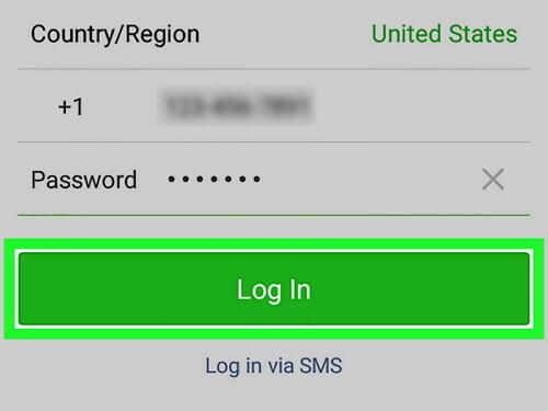 WeChat mit SMS anmelden