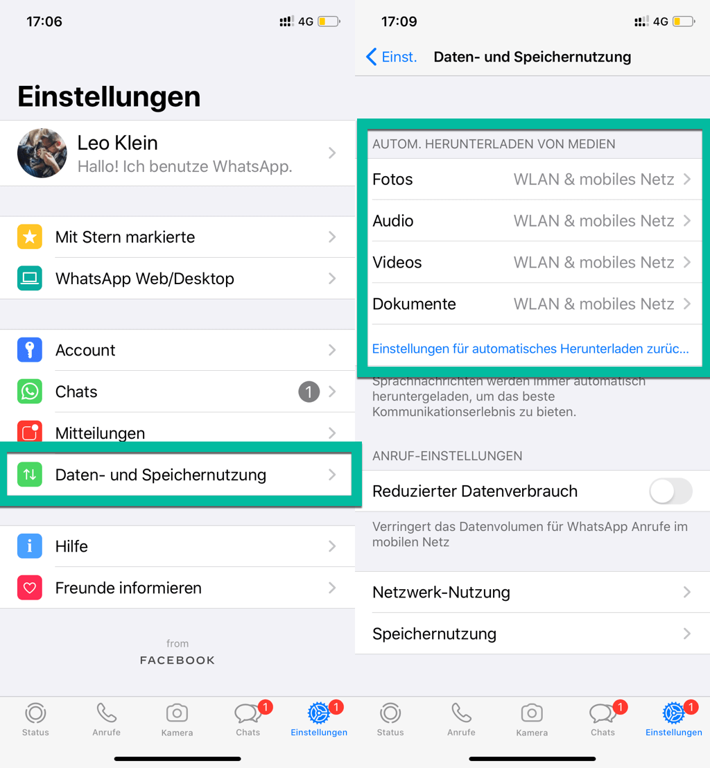 Mit Mobildaten WhatsApp-Dateien downloaden