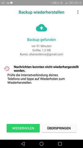 WhatsApp-Backup funktioniert nicht