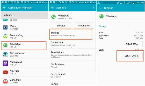 WhatsApp-Cache leeren