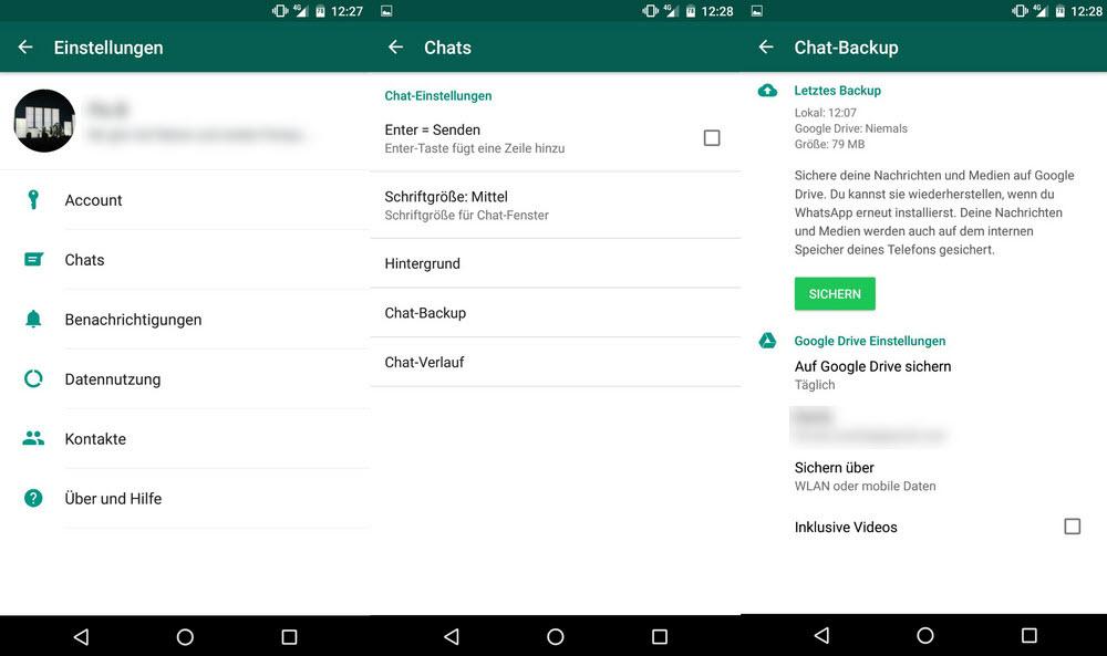WhatsApp-Chats auf Google Drive sichern
