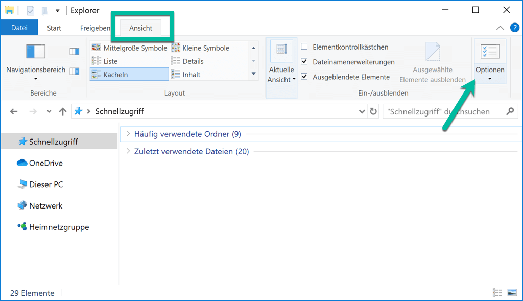 Windows 10 Datei Explorer Ansicht Optionen
