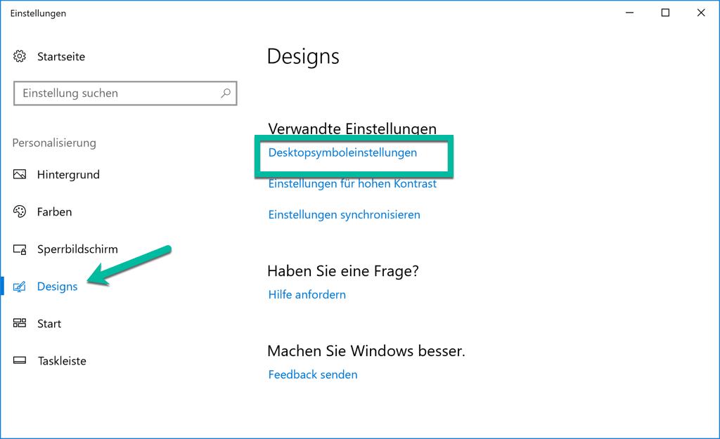 Wählen Desktopsymboleinstellungen in Designs