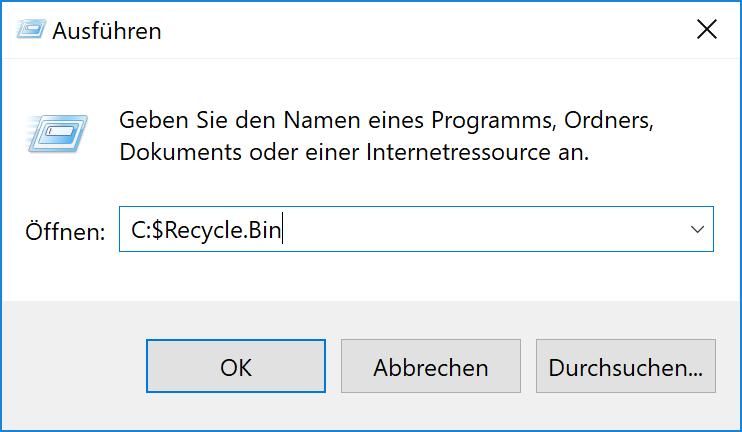 Windows 10 Papierkorb anzeigen mit Ausführen