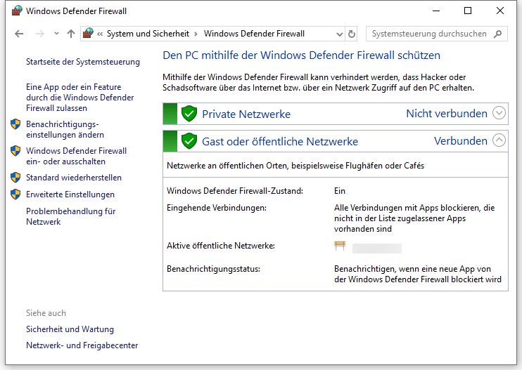 Klicken auf Windows Defender Firewall ein- oder-ausschalten
