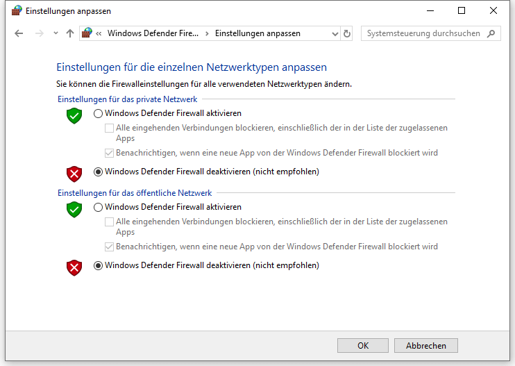 Windows Defender Firewall deaktivieren