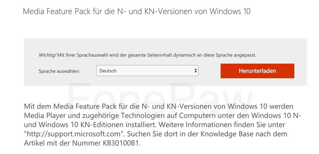 Windows Media Feature für N- und KN-Versionen downloaden