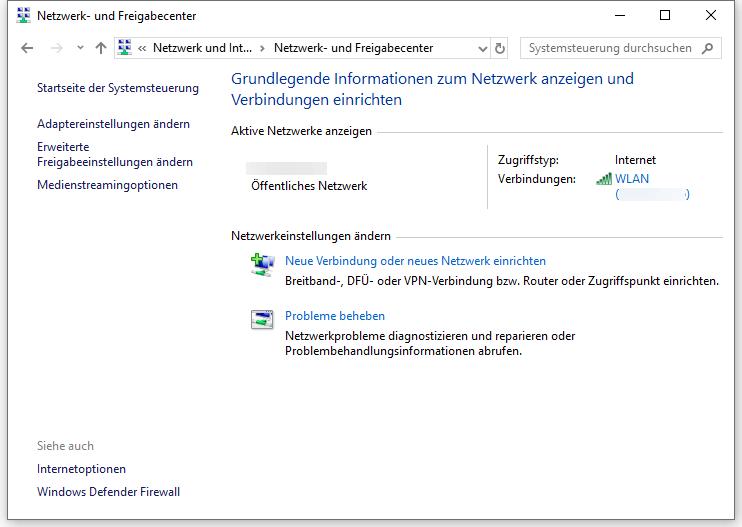 Windows Defender Firewall öffnen