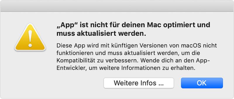 App ist nicht für deinen Mac optimiert