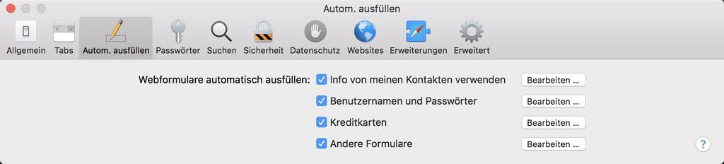 Safari-Autofill entfernen