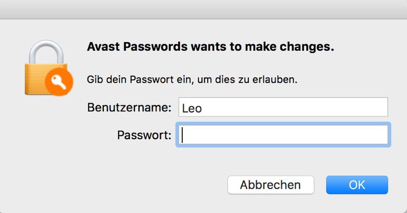 Mac Passwort zum Deinstallieren Avast eingeben