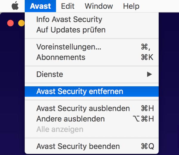 Avast Security entfernen